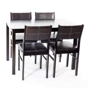 masa Modern wenge cu 4 scaune din lemn