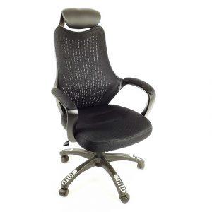 Scaun birou B53 negru din mesh cu tetier si brate de piele ecologica-zendeco/Zendeco.ro