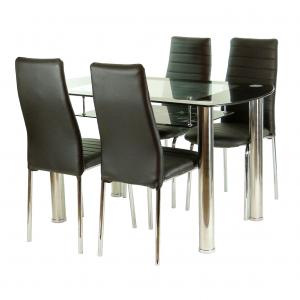 set de masa SM6749 compus 1 masa de bacatarie din sticla securizata, picioare metal si patru scaune neagra cu structura metal