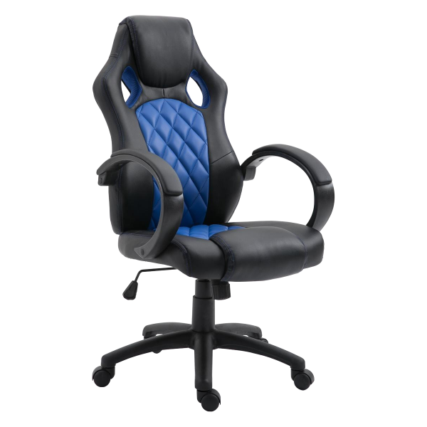 Scaun gaming Arka B116,negru albastru, piele ecologica/Zendeco.ro