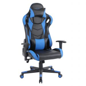 Scaun gaming Arka B144 Racing,negru si albastru, spatar reglabila piele ecologica/Zendeco.ro