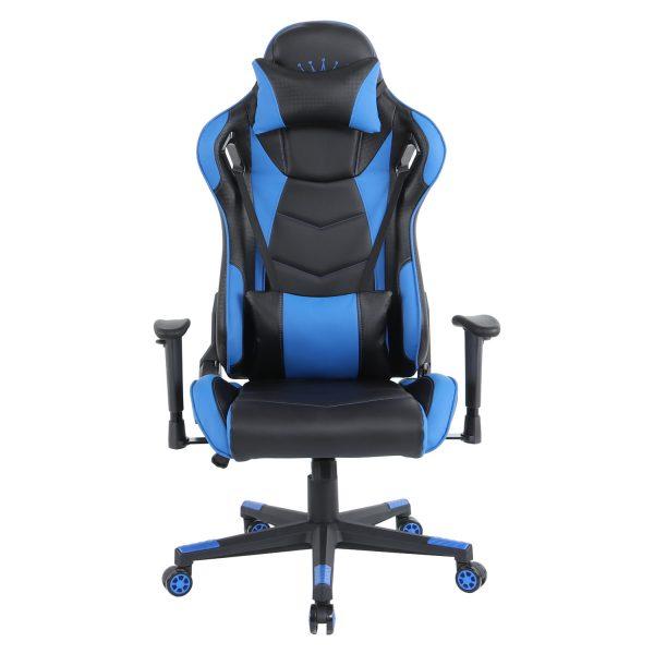 Scaun gaming Arka B144 Racing,negru si albastru, spatar reglabila piele ecologica /Zendeco.ro