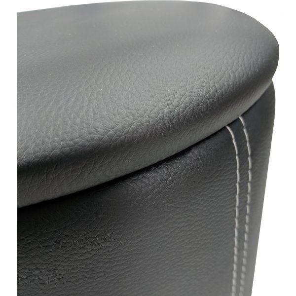 masuta de cafea Zen B31 neagra cu 2 tabureti, piele ecologica- 100x60x45cm/zendeco.ro