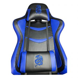 Scaun Gaming B151 Dragon, blue, piele ecologica/Zendeco.ro