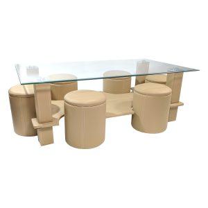 Masa de cafea Zoom B27 Bej cu tabureti, piele ecologica/Zendeco.ro