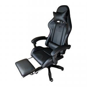 Scaun gaming Cosmic B204 Spider, black, cu suport picioare, piele perforata ecologica/Zendeco.ro