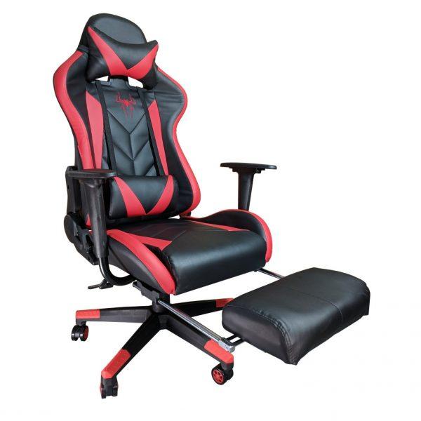 Scaun Gaming B207 SPIDER black red cu suport picioare/Zendeco.ro