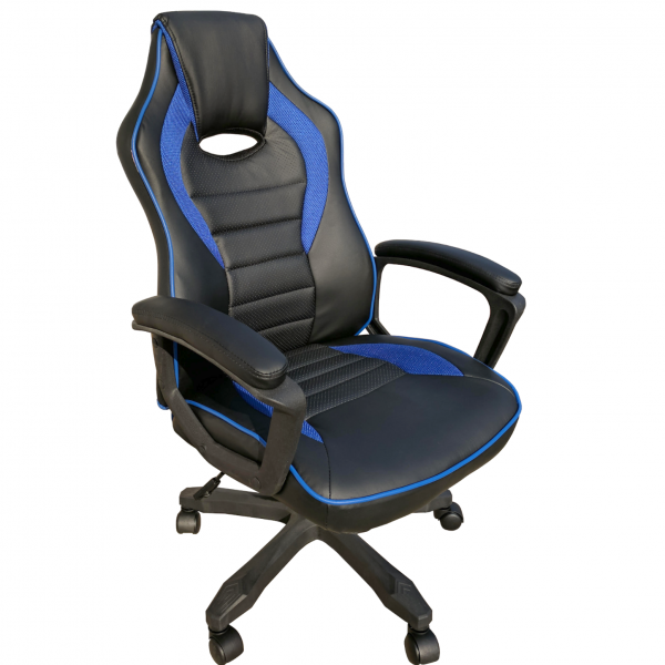 Scaun gaming Arka B101 black blue,piele ecologica si mesh/Zendeco.ro