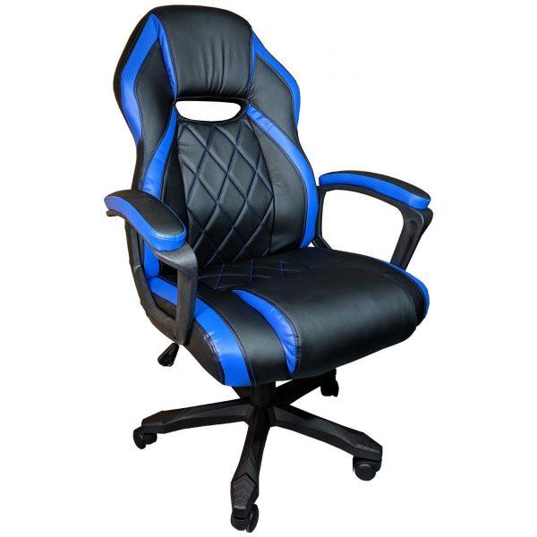 Scaun gaming Arka B105, piele antitranspiratie perforata, negru albastru/Zendeco.ro