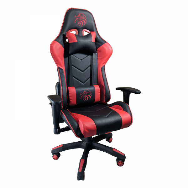 Zendeco.ro/Scaun Gaming Arka B54 Eagle black red, piele antitranspiratie perforata ecologica