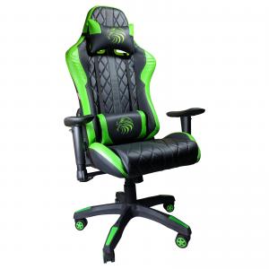 Zendeco.ro/Scaun Gaming Arka B52 Eagle black green, piele antitranspiratie perforata ecologica