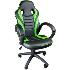 Scaun ergonomic Arka B99, negru verde, piele anti transpiratie, perforata ecologica/Zendeco.ro