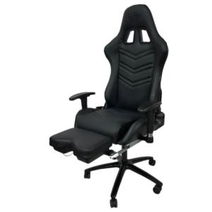 Scaun Gaming Arka Chairs B61 allblack piele perforata cu suport picioare