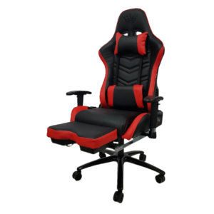 Scaun gaming Arka Line B61, negru rosu cu suport picioare, piele perforata ecologica