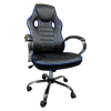 Scaun ergonomic Arka B18 black blue, piele anti transpiratie perforata ecologica/Zendeco.ro