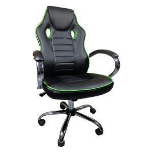 Scaun ergonomic Arka B18 black green, piele anti transpiratie perforata ecologica/Zendeco.ro