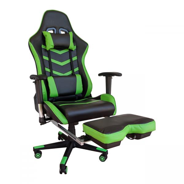 Scaun gaming Arka Line B61 black green cu suport picioare/Zendeco.ro