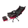 Scaun directorial Arka B67 cu suport picioare, piele ecologica si mesh black red
