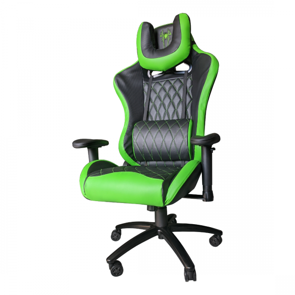-Scaun Gaming B6 Spider black green,piele ecologica