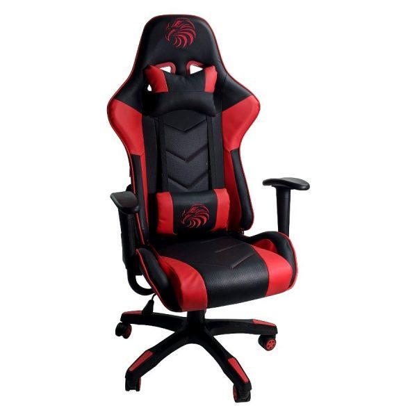 Scaun Gaming Arka B54 Eagle black red, piele antitranspiratie perforata ecologica, brate fixe