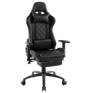 Scaun gaming Arka B56, negru, cu suport picioare