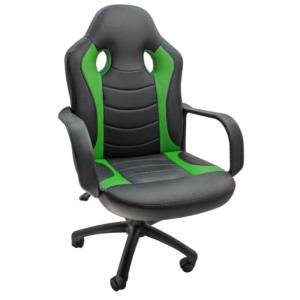 Scaun gaming B15 Negru verde, piele ecologica