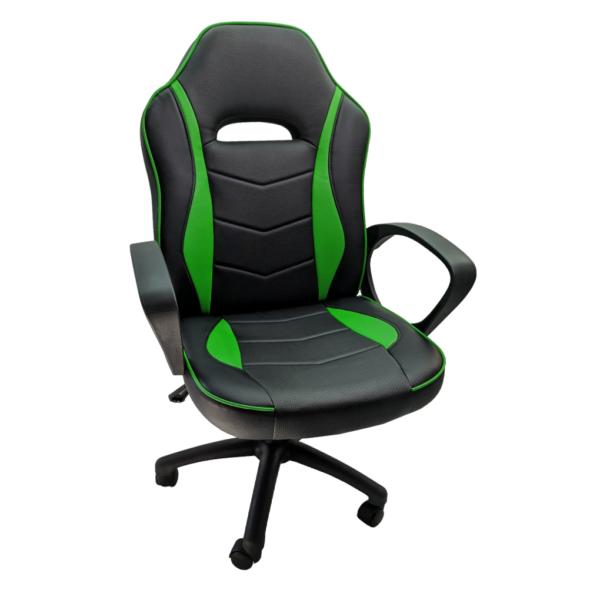 Scaun gaming B14 verde, piele ecologica