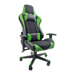 Scaun gaming B54 black green textil,