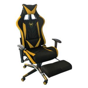 Scaun-gaming-B207-Spider-textil-negru-portocaliu-cu-suport-picioare