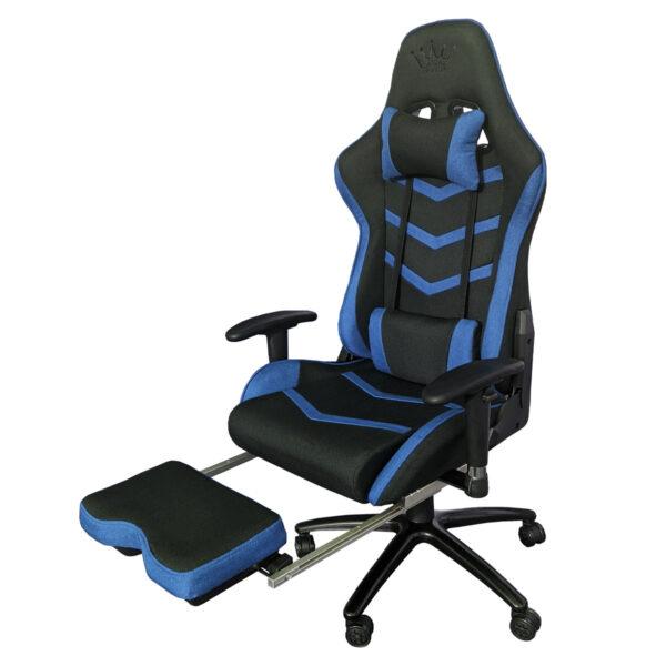 Scaun Gaming Arka Line B61 textil negru albastru cu suport picioare