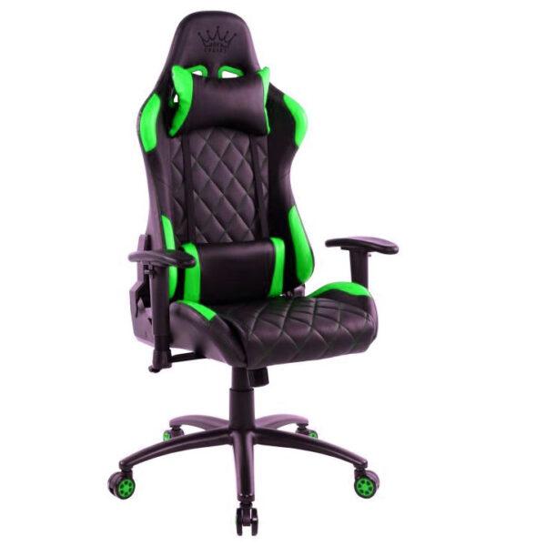 Scaun gaming Arka B56 verde, piele perforata anti transpiratie